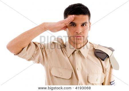 Portrait Of Saluting Soldier