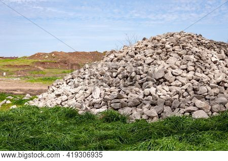 Mound Of Stones On The Grave. Grave Mound Made Of Stones, Concept Of Ancient Architecture, Tourism,