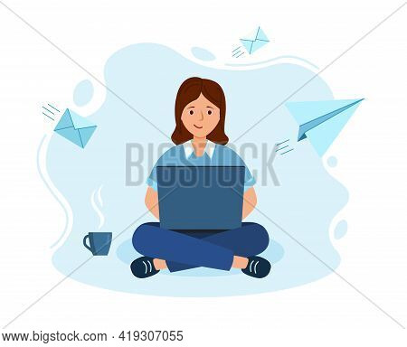 Woman Work On Laptop In Office. Studying Distantly From Home In Coronavirus.