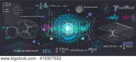 Science Elements Set Concept Quantum Mechanics, Formula, Curvature Of Spacetime In A Gravitational F