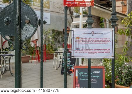 Palma De Mallorca, Spain; April 23 2021: Soller Train Station Located In Palma De Mallorca, Closed D