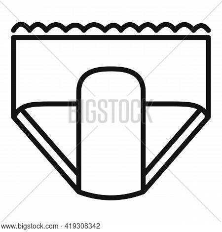 Shower Diaper Icon. Outline Shower Diaper Vector Icon For Web Design Isolated On White Background