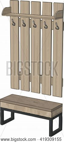 Furniture In The Hallway. Vector Drawing Of Furniture, Hanger. Furniture Element.