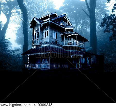 Haunted house. Old abandoned house in the night forest. Scary colonial cottage in mysterious forestland. Photo toned in blue color. Copy space for text