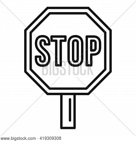 Stop Road Sign Icon. Outline Stop Road Sign Vector Icon For Web Design Isolated On White Background