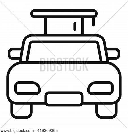 Driving School Car Graduation Icon. Outline Driving School Car Graduation Vector Icon For Web Design