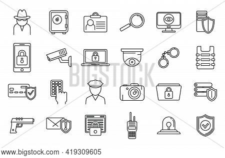 Security Service Scan Icons Set. Outline Set Of Security Service Scan Vector Icons For Web Design Is
