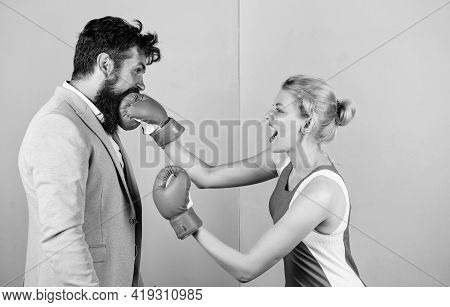 Strong Punch. Boxers Fighting In Gloves. Gender Equality. Man And Woman Boxing Fight. Couple In Love