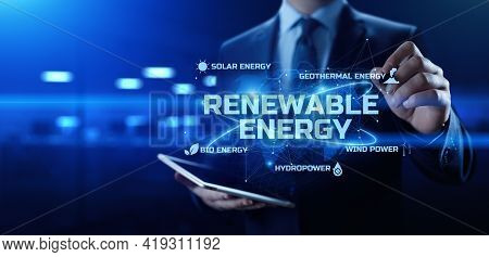 Renewable Alternative Green Energy. Eco Friendly Nature Lean Concept