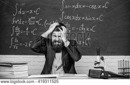 Teacher Give Up. Hate His Job. Teacher Mature Man. Fed Up. Man Desperate Teacher In Classroom. No Ho