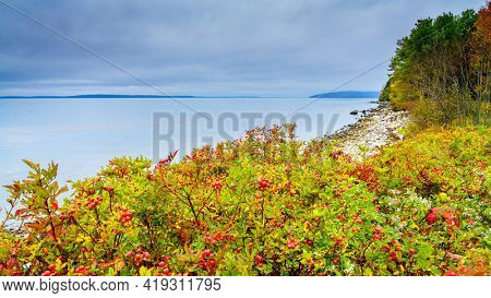 Coastline of Maine, New England at Moose Point State Park in fall