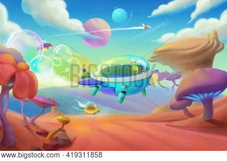 Aircraft Adventure. Space Scene. Fantasy Backdrop. Concept Art. Realistic Illustration. Video Game B