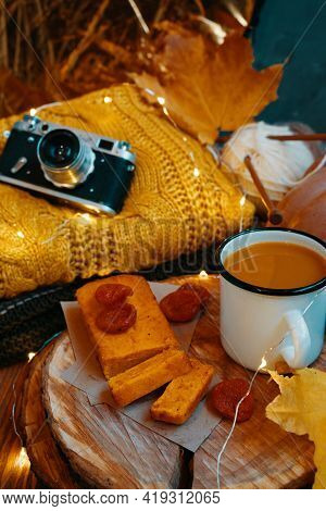 Autumn Holiday Composition For Postcards, Invitations And Posters. Pumpkin Juice, Freshly Baked Cake