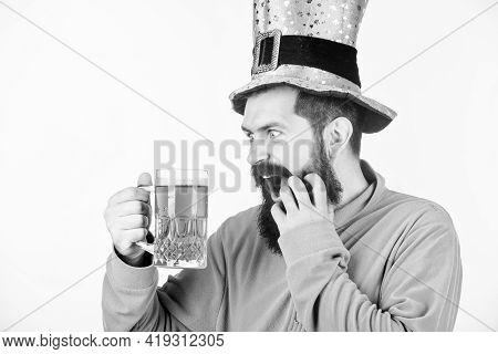 Irish For A Day. Bearded Man Toasting To Saint Patricks Day. Irish Man With Beard Drinking Green Bee
