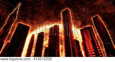 Flaming Skyscrapers On The Background Of A Red Star. Fantasy On The Theme Of The Apocalypse. 3d Illu