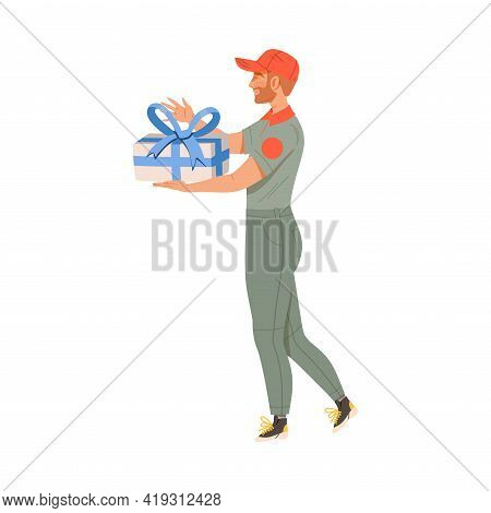 Man Courier In Orange Cap Delivering Gift For Special Occasion Like Birthday Or Holiday Vector Illus