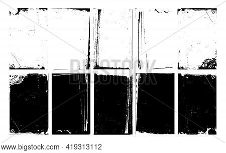 Set Of Stylish Grungy Backgrounds With Antique Frames. Collection Of Light And Dark Art Surfaces, Ve
