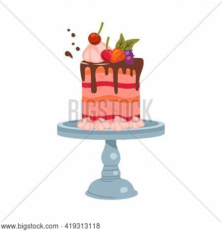 Festive Multilayered Cake Decorated With Whipped Cream And Berries On Pedestal Cake Plate Vector Ill