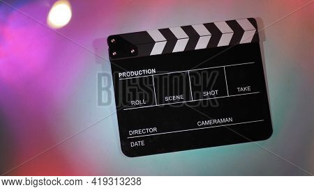 Clapper Board Or Clap Board Or Movie Slate Use In Video Production Or Movie And Cinema Industry. It\
