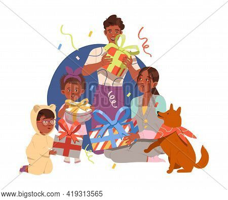 Family Gathered Together For Giving Gifts To Each Other Celebrating Special Occasion Like Birthday O