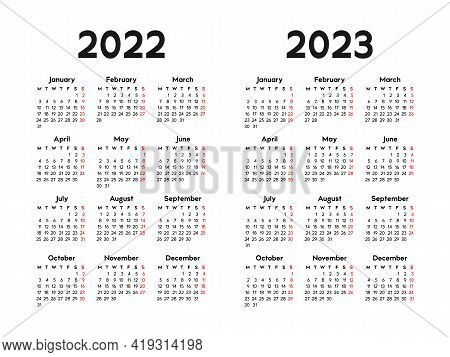 Calendar 2022 And 2023, Week Starts On Monday, Basic Business Template. Vector Illustration