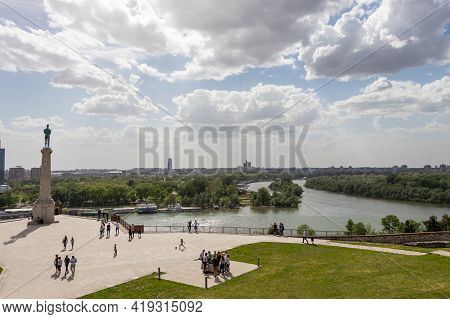 Belgrade, Serbia - May 2, 2021: Fortress Kalemegdan And Winner Statue. View Over The Plateau On Kale