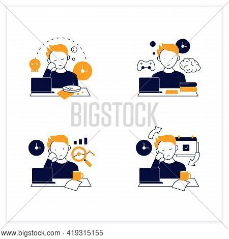 Procrastination Flat Icons Set. Laziness, Brain Procrastination, Statistics And Chronic. Overwhelmed