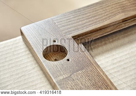 Wooden Frame For Furniture Facade With Input Hole In Shop