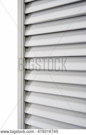Wooden Blinds In Light Gray Color Made Of Thin Planks And Boards In Carpentry