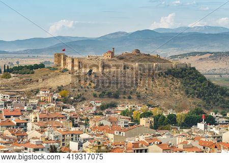 Ayasuluk Castle on Ayasuluk Hill, Selcuk, Ephesus, Turkey. Cityscape of Selcuk town with medieval Ayasuluk castle