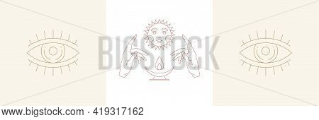 Ritual Hands And Sun With Eye In Boho Linear Style Vector Illustrations Set.