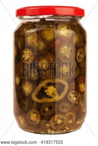 Famous jalapeño chili pepper pickled pepper slices preserved in glass jar isolated on white background