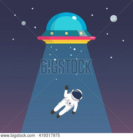 Astronaut Man Abducted By Ufo. Flat Style Vector Illustration