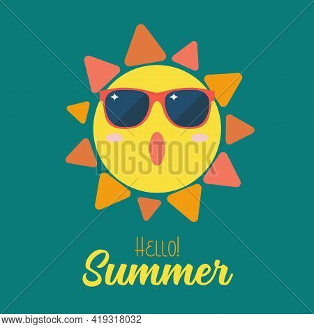 Summer Sun Wearing Sunglasses. Vector Illustration Graphic
