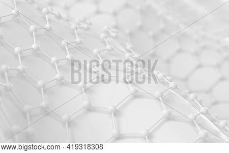 Biochemistry Scientific Node, Molecular Connection, 3D Rendering.