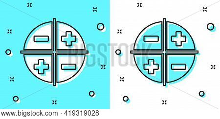 Black Line Xyz Coordinate System Icon Isolated On Green And White Background. Xyz Axis For Graph Sta
