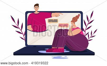 Concept Of Cyber Bullying, Girl Crying On A Laptop. The Man Points, Gloats, Humiliating And Insultin