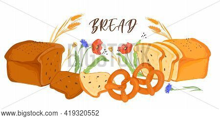 Banner Backdrop With Bread Production And Wheat Ears, Flat Vector Illustration Isolated On White Bac