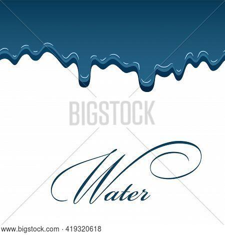 Water Drop Aqua Splash. Blue Droplet Liquid, Isolated White Background. Raindrop Shape. Falling Rain