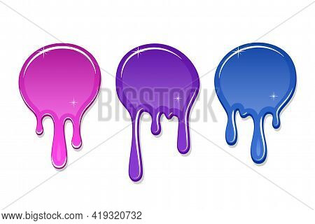 Drip Paint Spot 3d Set Isolated White Background. Pink, Blue Ink Splash. Splatter Stain Texture. Dri