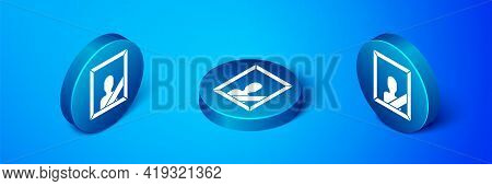 Isometric Mourning Photo Frame With Black Ribbon Icon Isolated On Blue Background. Funeral Ceremony