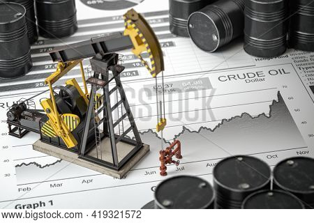 Oil pump jack and barrels on newpaper with growth of price of crude oil. Stock market of crude oil, investment and petroleum industry.  3d illustraton