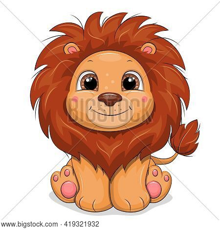 Cute Cartoon Baby Lion. Vector Illustration Of Animal Isolated On White.