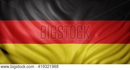 3d Rendering Of A Detail Of A Silked Germany Flag