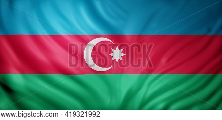 3d Rendering Of A Detail Of A Silked Azerbaijan Flag