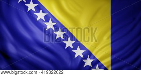 3d Rendering Of A Detail Of A Silked Bosnia And Herzegovina Flag