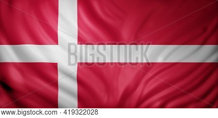 3d Rendering Of A Detail Of A Silked Denmark Flag