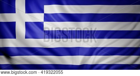 3d Rendering Of A Detail Of A Silked Greece Flag
