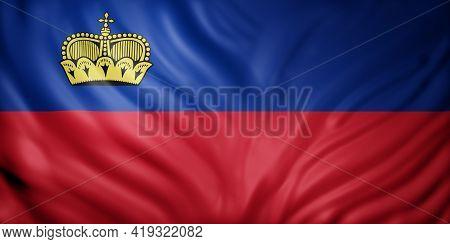 3d Rendering Of A Detail Of A Silked Liechtenstein Flag