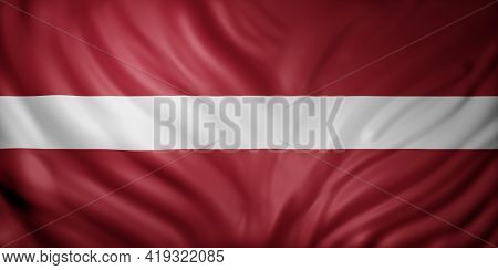 3d Rendering Of A Detail Of A Silked Latvia Flag